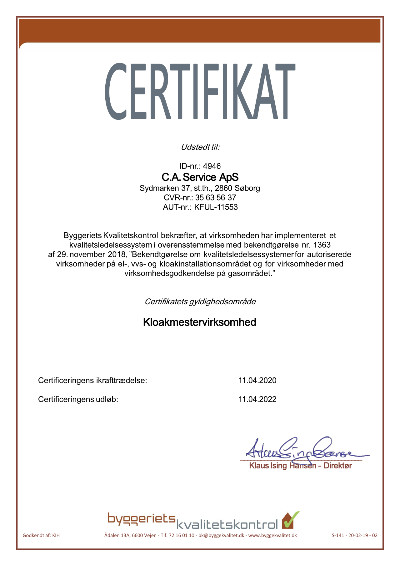 Certifikat for godkendt kvalitetsledelsessystem system