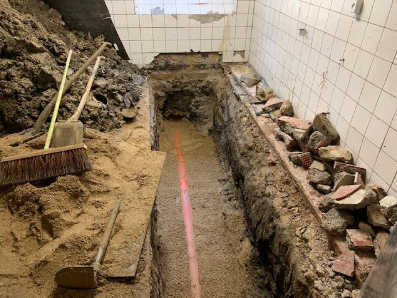 udskiftning af kloakledning i kælder